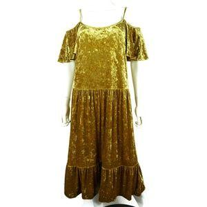 NWOT Rebecca Minkoff Dress Gold Crushed Velvet
